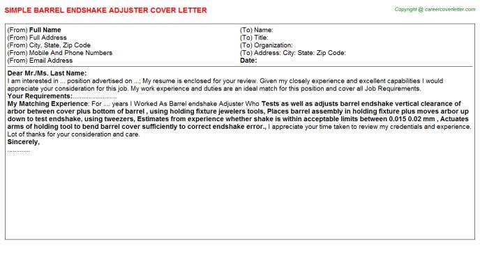 Loan Adjuster Cover Letter