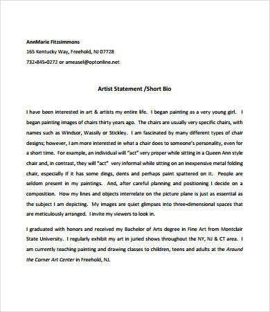Artist Statement Template] Artist Statement Examples 8 Free Pdf ...