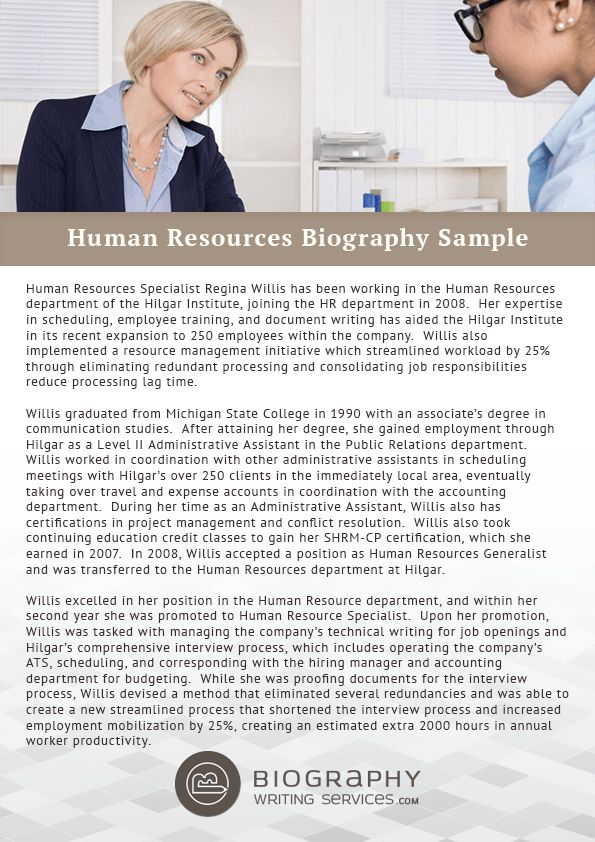 Human Resources Bio Writing Service | Biography Writing Services
