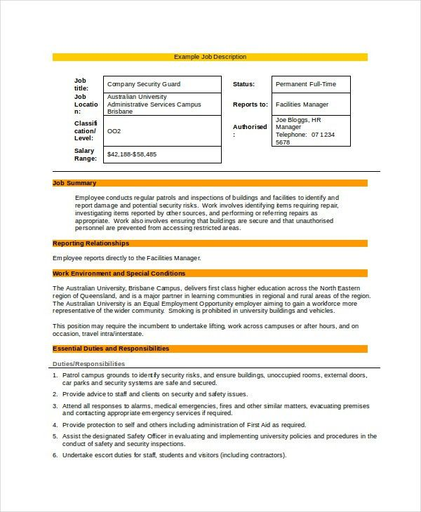 7+ Security Guard Job Descriptions - Free Sample, Example, Format ...