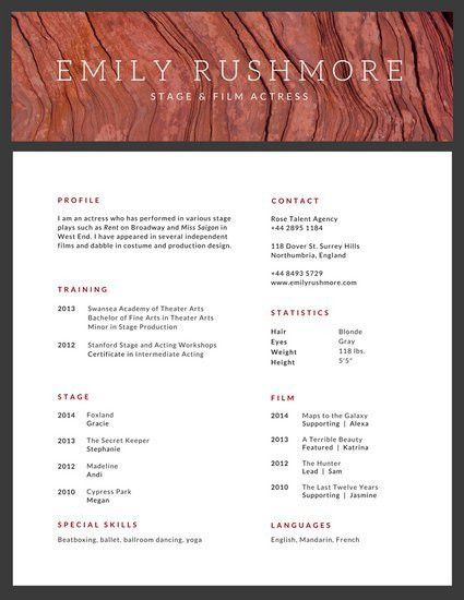 Minimalist Texture Acting Resume - Templates by Canva