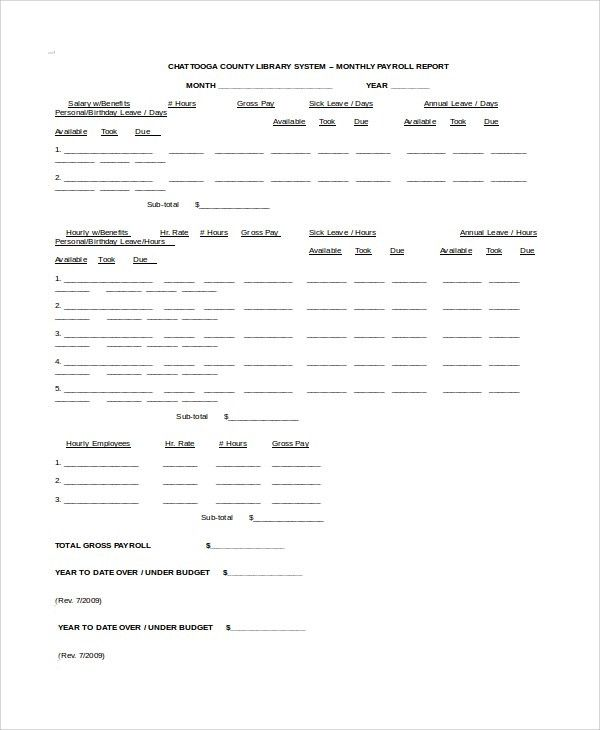 Sample Payroll Report Template - 8+ Free Documents Download in ...