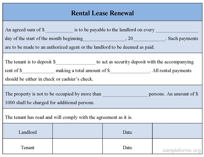 Rental Lease Renewal Form, sample Rental Lease Renewal Form ...