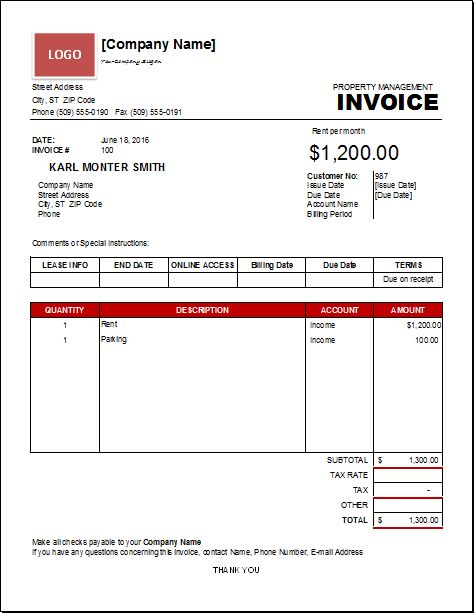 Property Management Invoice Template | EXCEL INVOICE TEMPLATES