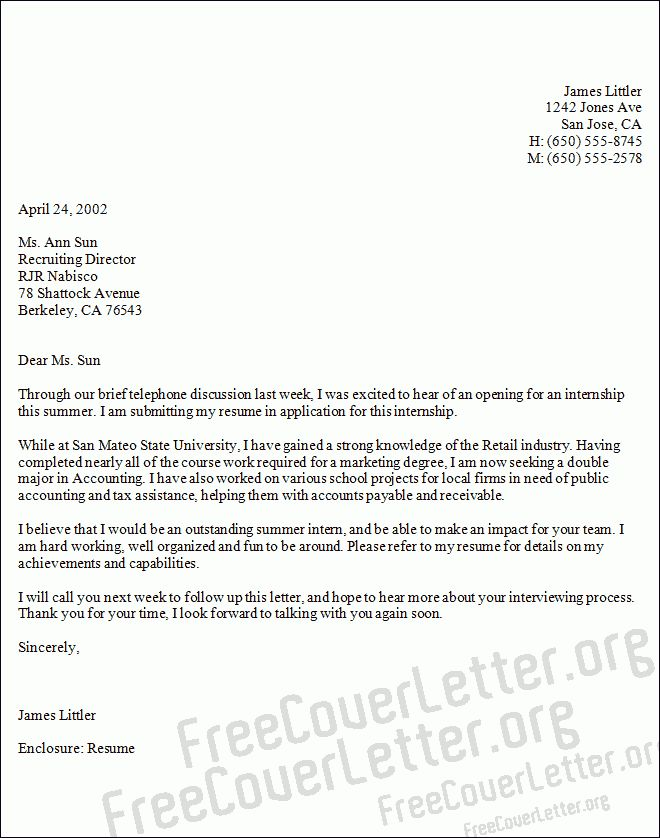Accounting Internship Cover Letter - My Document Blog