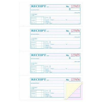 TOPS™ Money/Rent Receipt Books, 2-3/4 x 7 1/8, Three-Part ...