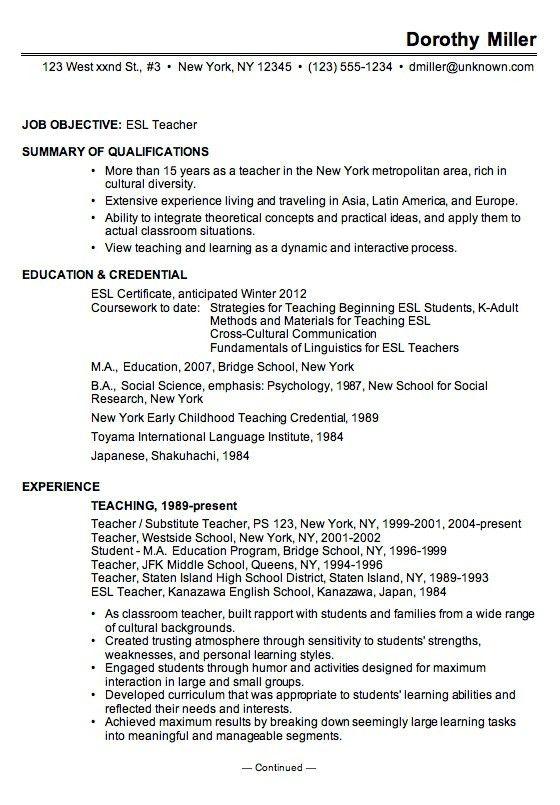 Esl Teacher Resume Examples - cv01.billybullock.us