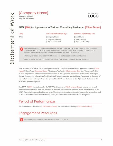 Statement of Work (Red design) - Office Templates