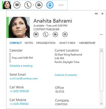 Use the contact card - Skype for Business