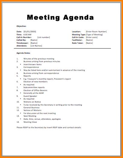 9+ meeting agenda format | Letter Template Word