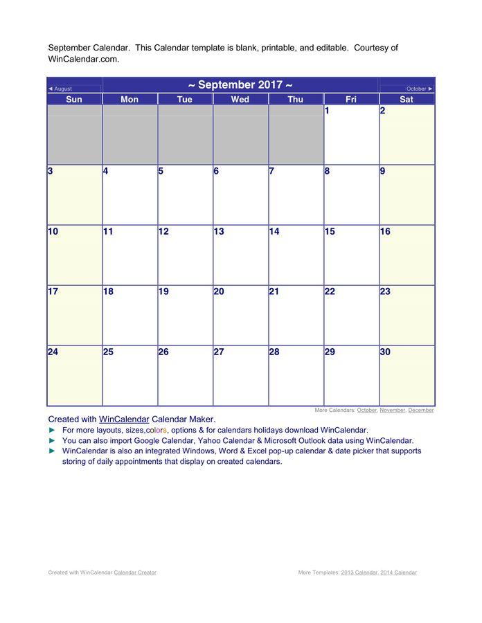 September Calendar 2017 Word Format