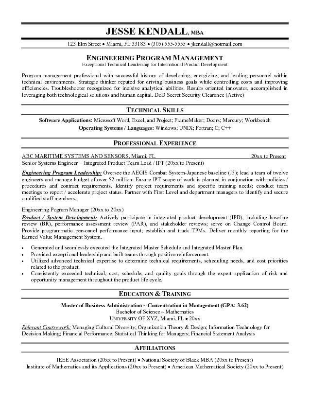 Free Engineering Program Manager Resume Example