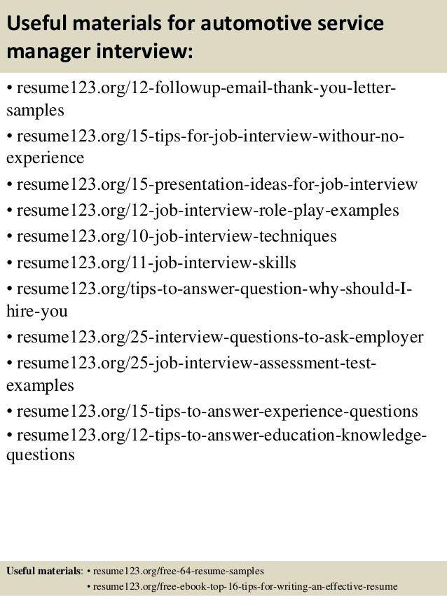automotive service manager sample resume information technology ...