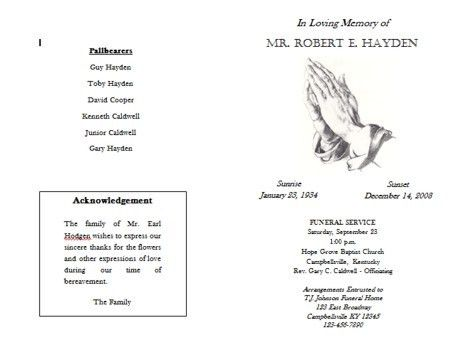 Funeral Program Format Template. 8+ Free Funeral Program Templates ...