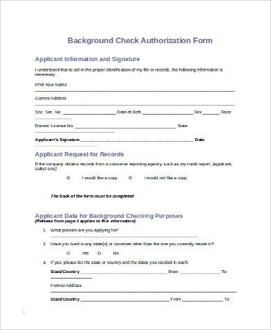 Sample Background Check Form   10+ Examples In PDF, Word