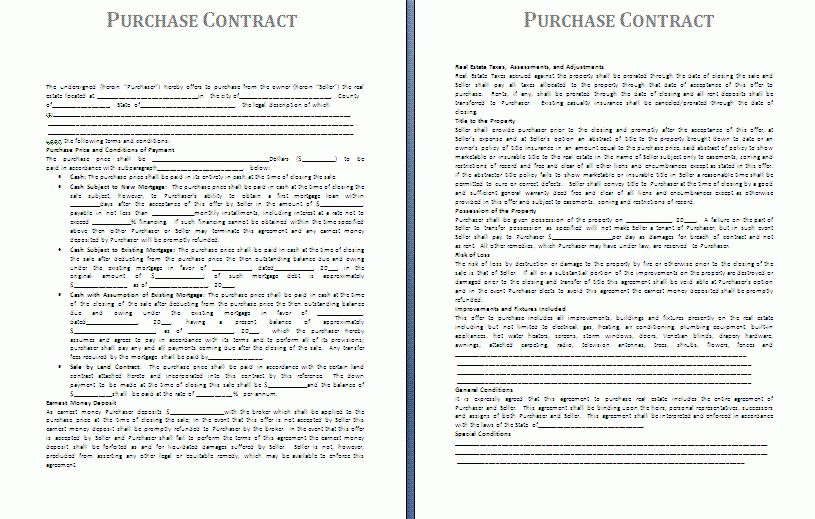 Purchase Contract Template | Free Contract Templates