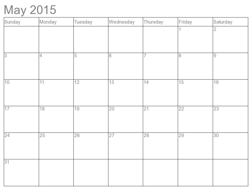 2015 Blank Calendar Printable 12 Month Simple Template | Calendar ...