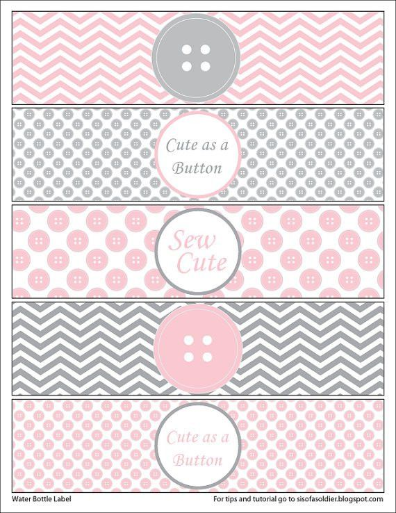 Cute as a Button Water Bottle Labels Sew Cute Button Baby