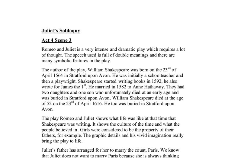 Juliet's Soliloquy Act 4 Scene 3. - GCSE English - Marked by ...