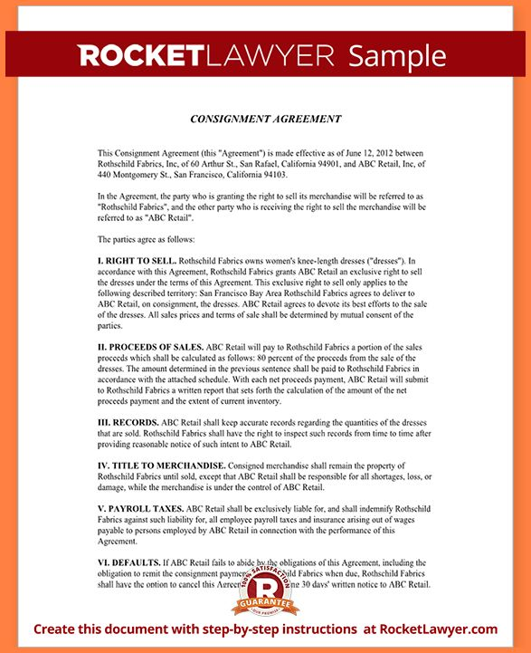 Consignment Agreement Template.Sample Consignment Agreement Form ...