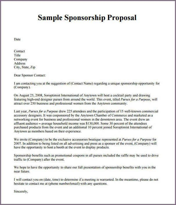 SAMPLE OF A PROPOSAL LETTER FOR SPONSORSHIP | proposalsampleletter.com