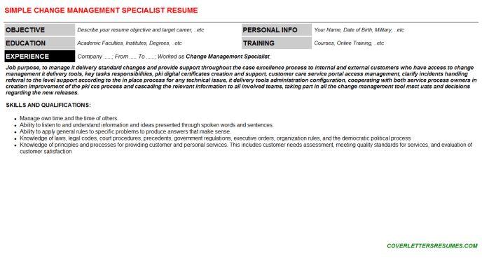 Change Management Specialist Cover Letter & Resume