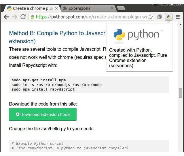 Create a chrome plugin with Python – Python Tutorial
