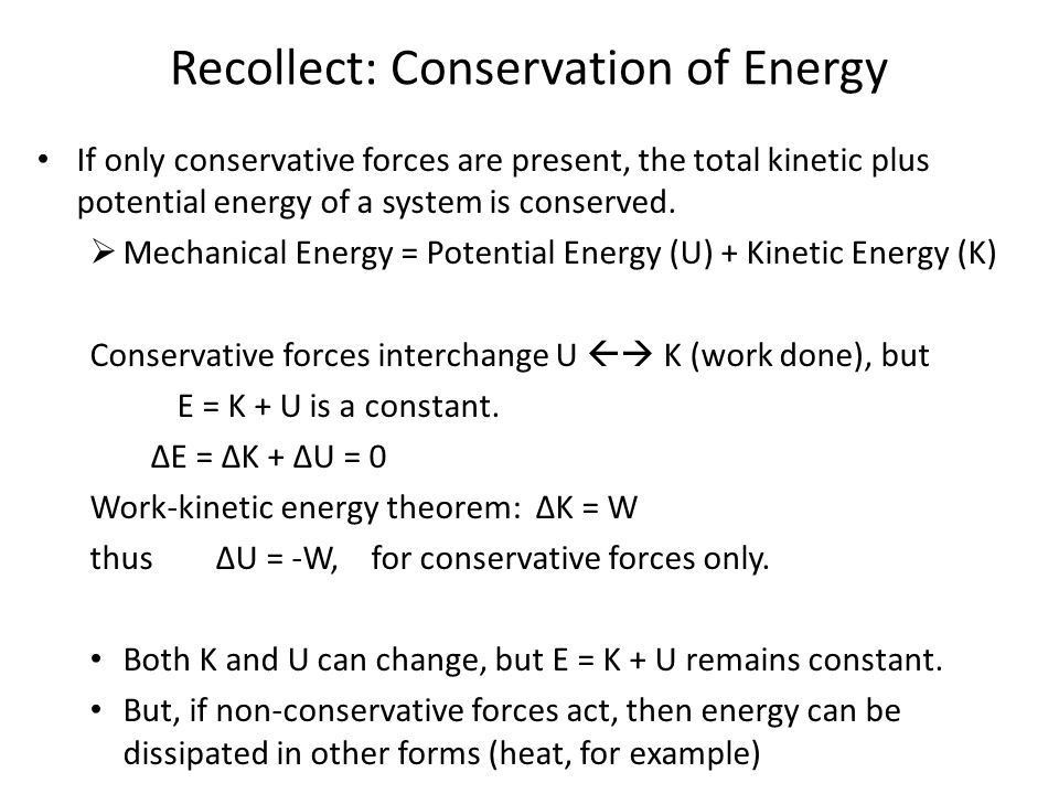Chapter 7 Conservation of Energy (cont'd) Mechanical energy ...