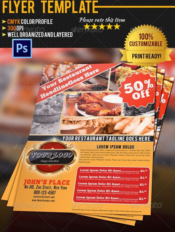 Restaurant Flyer Template by pmvch | GraphicRiver