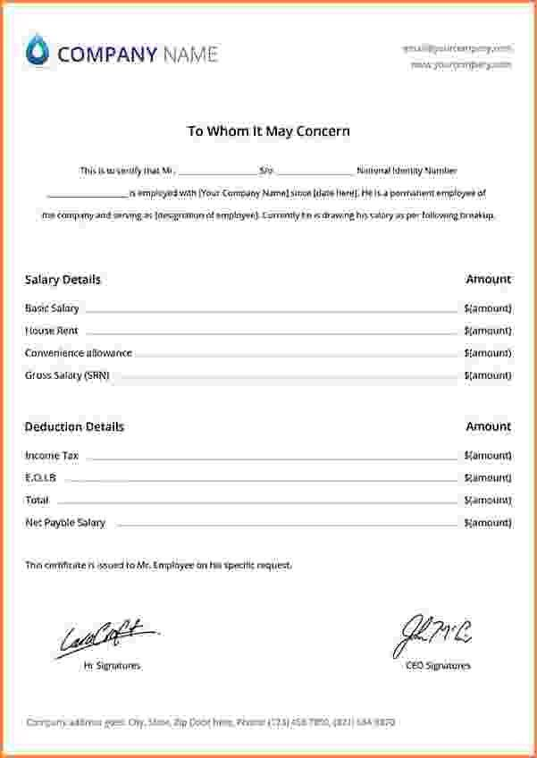 5+ salary slip format on letterhead | Simple salary slip