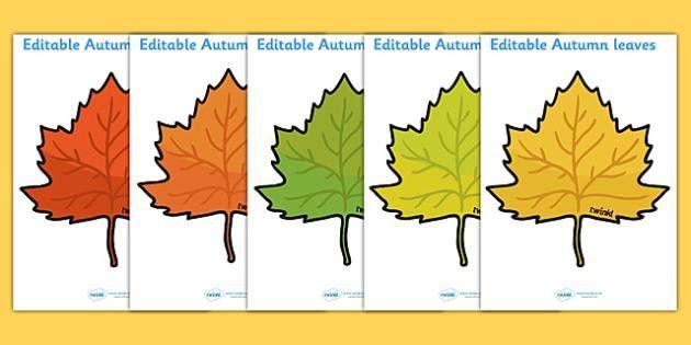 Editable Autumn Leaves - Display, editable, label, topic