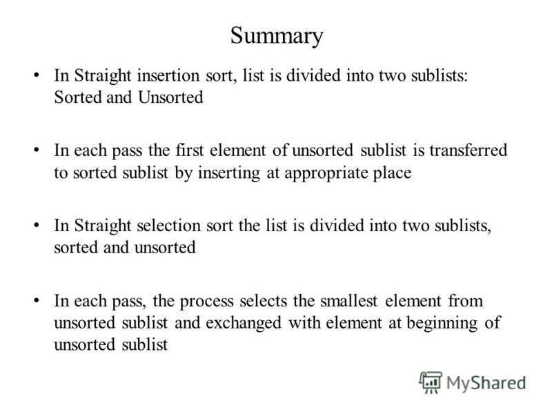 "Презентация на тему: ""UNIT-III SORTING Lesson Plan-1 Insertion ..."