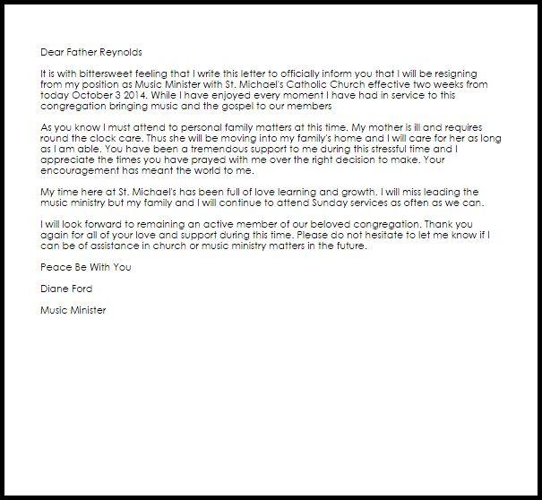 Church Resignation Letter | Resignation Letters | LiveCareer