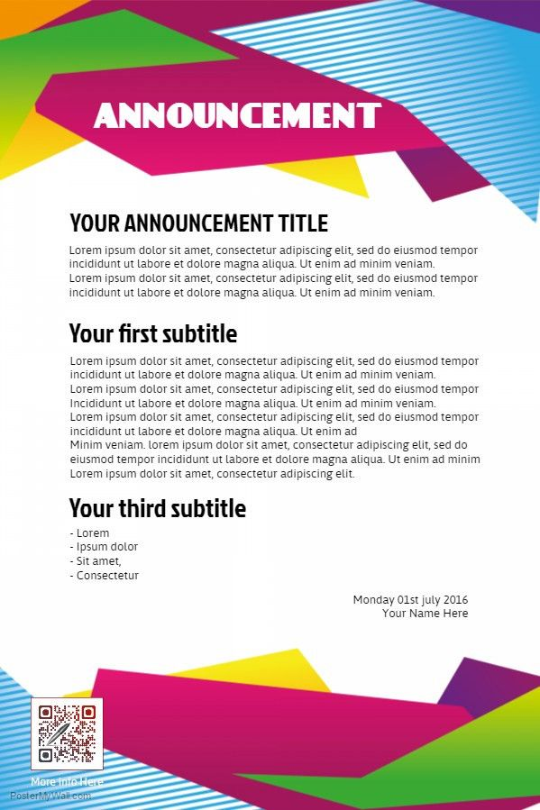 Sample Club Announcement Flyer Template. | Organization and Club ...