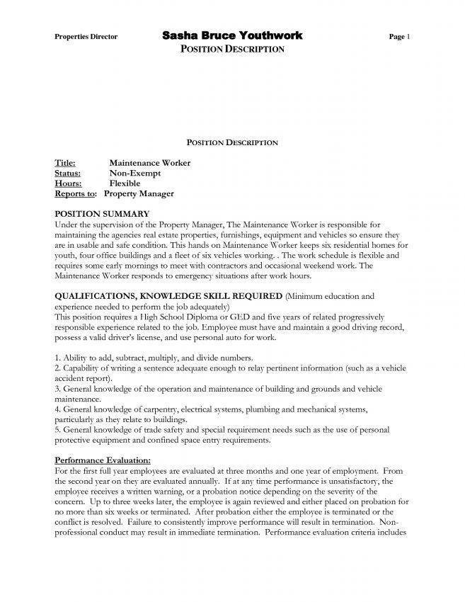 10 Building Maintenance Resume Examples Resume apartment ...