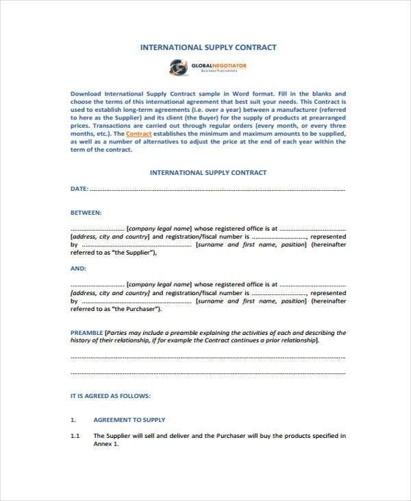 9+ Supply Contract Templates - Sample, Example   Free & Premium ...