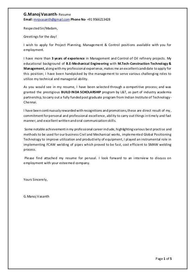 Cover Letter & Resume-G.Manoj Vasanth