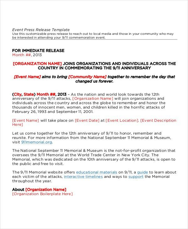 11+ Press Release Templates - Free Sample, Example, Format | Free ...
