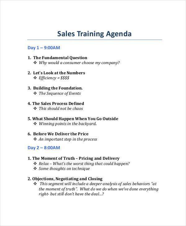23+ Training Agenda Examples