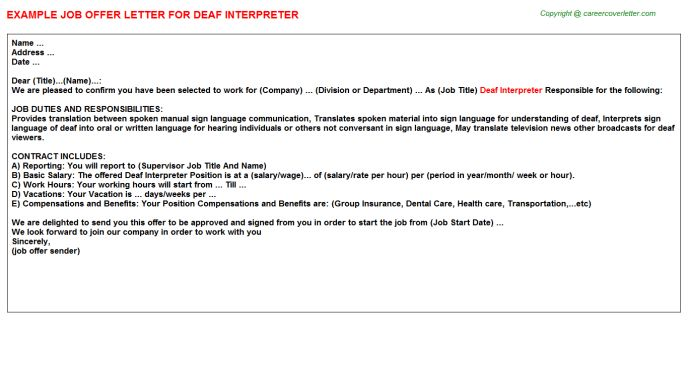 Gujarati Interpreter Offer Letters