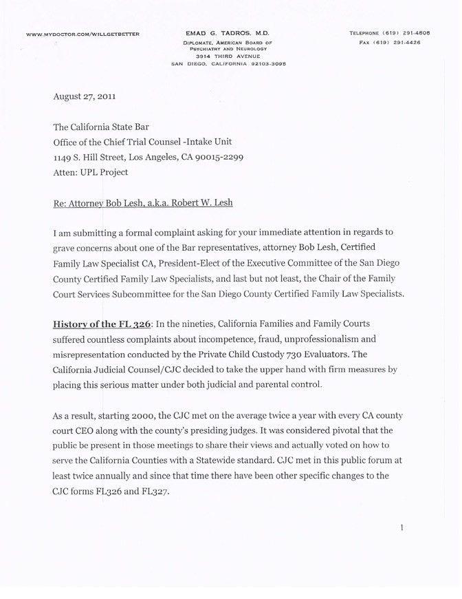 Complaint to CA State Bar - Attorney W. Robert Lesh; aka Bob Lesh