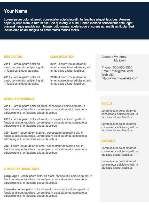 Free Resume templates to Download   Examples Of Resumes