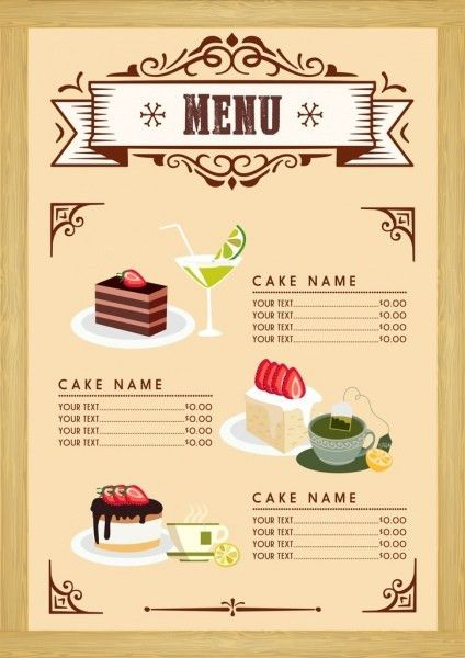 Dessert menu template cake beverages icons classical design Free ...