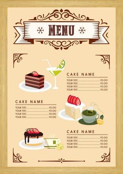 Dessert menu template cake beverages icons classical design Free ...