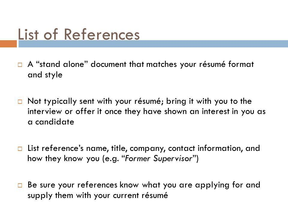 COVER LETTERS LIST OF REFERENCES THANK YOU NOTES Seattle Pacific ...