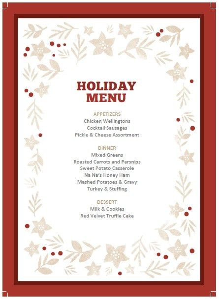 6 Free Christmas Party Menu Templates – Stationery Templates
