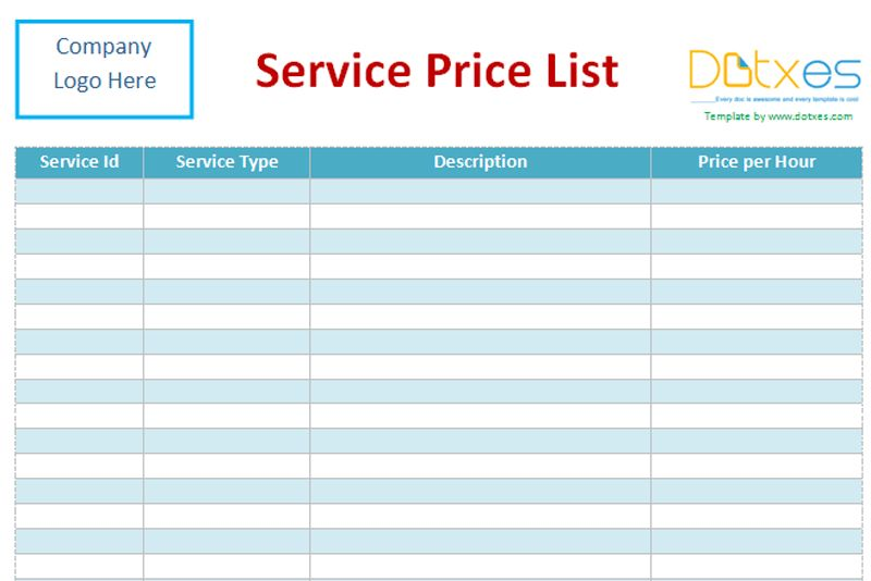 Service price list template (word) - Dotxes