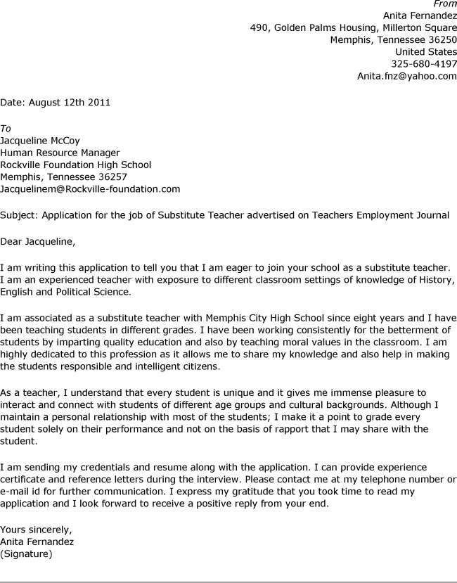 Teacher Cover Letters. Cover Letter Example 4 Teacher Cover Letter ...