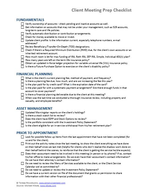 Client Meeting Prep Checklist For Financial Advisors
