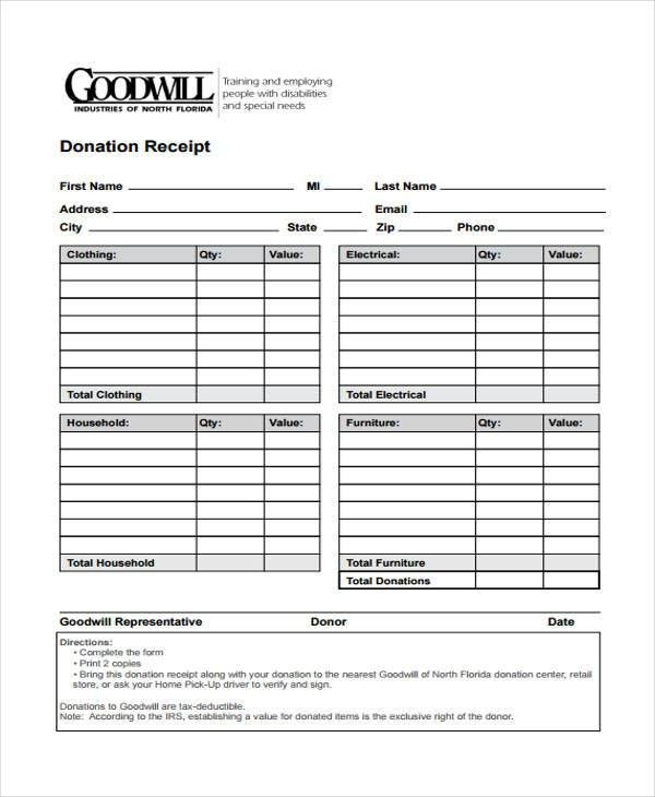 11+ Donation Receipt Form Sample - Free Sample, Example Format ...